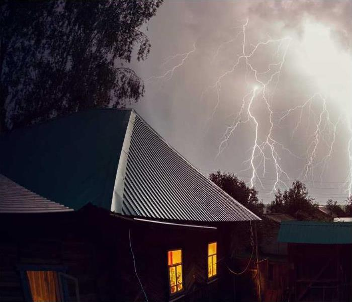 house in a lightening storm